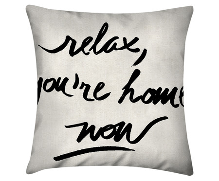Capa de Almofada Relax, You're Home Now- Branco e Preto | WestwingNow