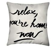 Capa de Almofada em Linho Misto Relax, You're Home Now- Branco e Preto | WestwingNow