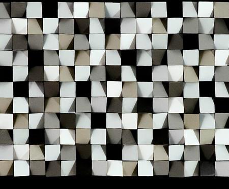 Quadro com Vidro com Vidro Pixel Tis Branco e Cinza - 156x66   WestwingNow