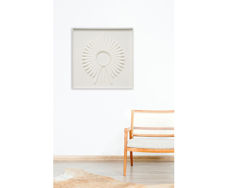 Quadro com Vidro Cocar Branco - 82x82cm | WestwingNow