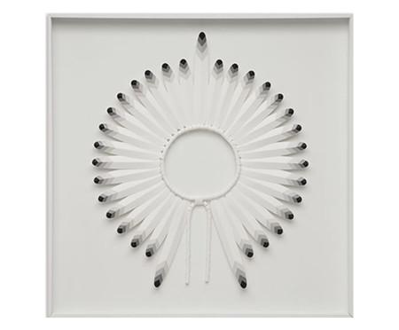 Quadro com Vidro Cocar Preto e Branco - 82x82cm | WestwingNow