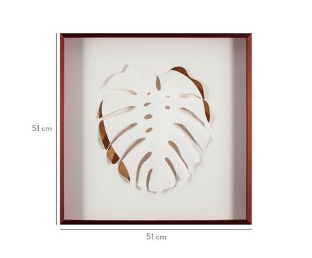 Quadro com Vidro Folha Branco e Dourado - 51x51cm | WestwingNow