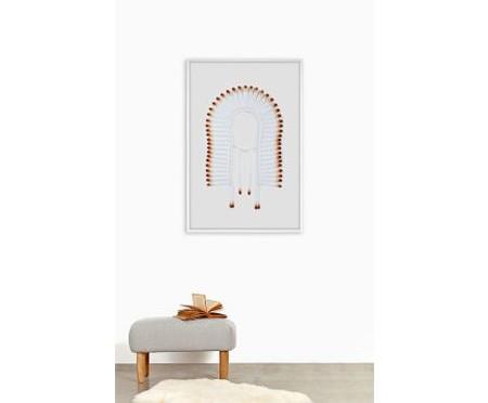 Quadro com Vidro Cocar Branco e Laranja - 81x121cm | WestwingNow