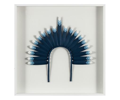 Quadro com Vidro Cocar Azul - 51x51cm, Multicolorido | WestwingNow