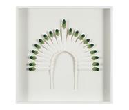 Quadro com Vidro Cocar Verde e Branco - 51x51cm | WestwingNow