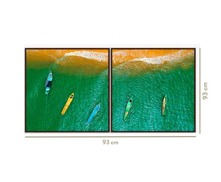 Quadro com Vidro Paisagem Mar e Navegação Phoebe - 93x93 | WestwingNow
