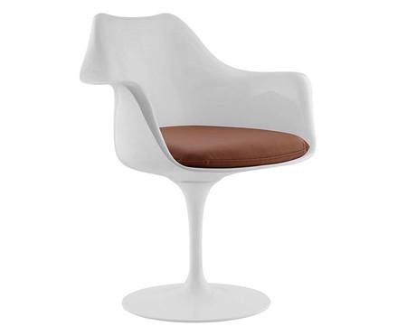 Cadeira com Braço Saarinen - Branca e Marrom | WestwingNow