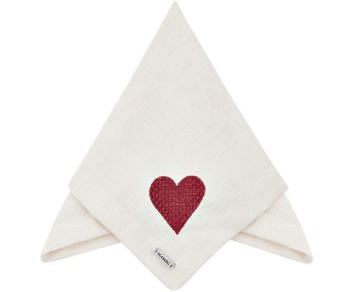 Guardanapo Bordado Coração - Off White e Bordô, Off white   WestwingNow
