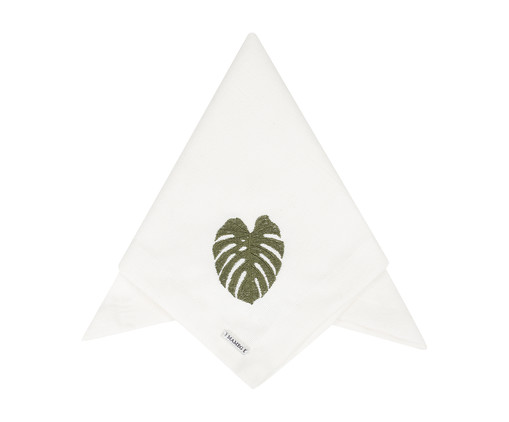Guardanapo Bordado Nancy - Branco e Verde, Off white | WestwingNow