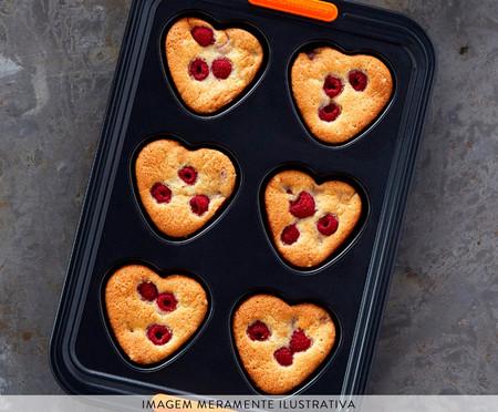 Forma 6 Muffins Coração em Relevo  - Matte Black | WestwingNow