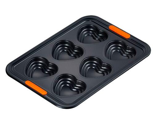 Forma 6 Muffins Coração em Relevo  - Matte Black, Preto | WestwingNow
