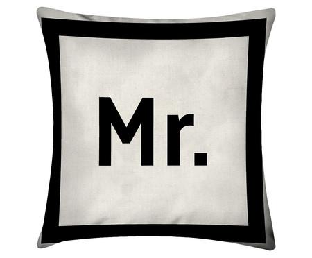 Capa de Almofada em Linho Misto Mr. - Preta e Branca | WestwingNow