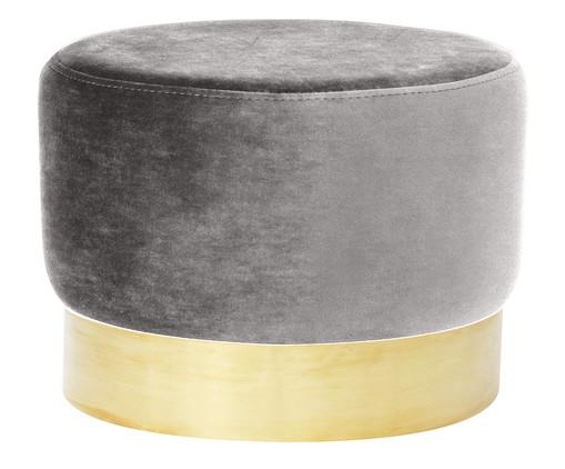Pufe em Veludo Harlow - Cinza, Cinza, Dourado | WestwingNow