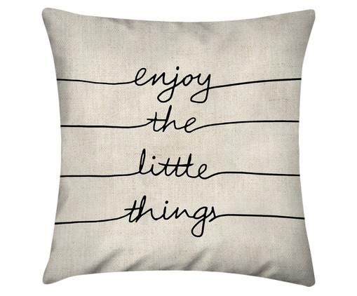Capa de Almofada em Linho Misto Enjoy The Little Things, Branco | WestwingNow