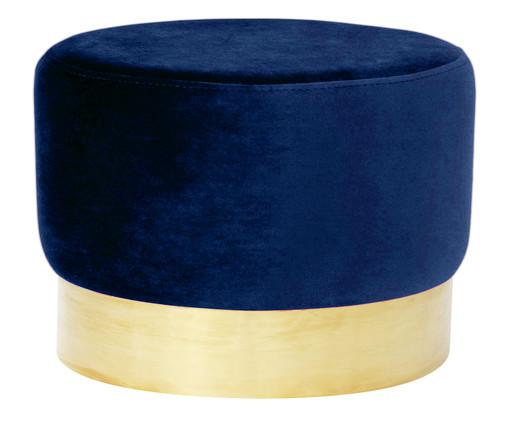 Pufe em Veludo Harlow - Azul Índigo, Azul, Dourado | WestwingNow
