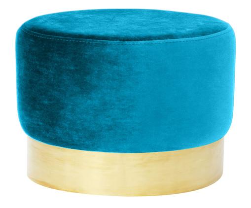 Pufe em Veludo Harlow - Azul Pavão, Azul, Dourado | WestwingNow