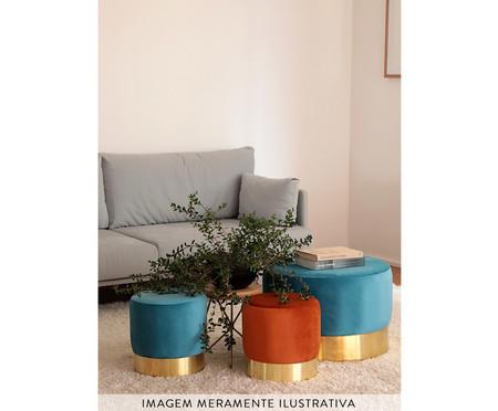 Pufe em Veludo Harlow - Azul Pavão | WestwingNow