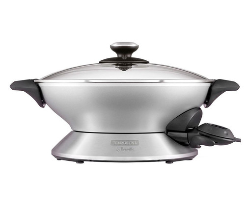 Panela Wok Chef Elétrica Prata by Breville - 6 L, Prata   WestwingNow