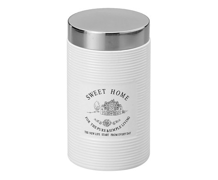 Pote em Porcelana Sweet Home Branco - 1L   WestwingNow