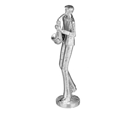 Escultura em Resina Saxofonista - Prata   WestwingNow