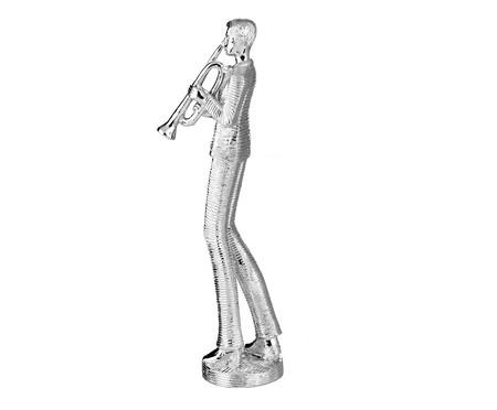 Escultura em Resina Trompetista - Prata   WestwingNow