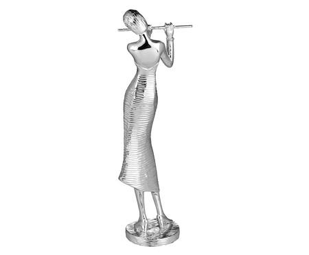 Escultura em Resina Flautista - Prata | WestwingNow