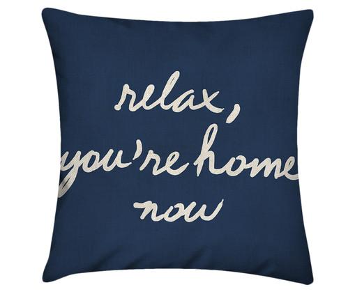 Capa de Almofada em Linho Misto Relax, You're Home Now - Azul Marinho, Azul | WestwingNow