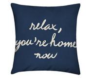 Capa de Almofada em Linho Misto Relax, You're Home Now - Azul Marinho | WestwingNow