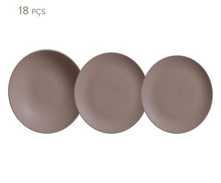 Jogo de Pratos em Cerâmica Stoneware Mahogany - 06 Pessoas   WestwingNow