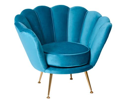Poltrona em Veludo Pétala  Azul Pavão, Azul, Dourado | WestwingNow