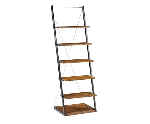 Estante Escada em Metal e Madeira Duke - Marrom e Preta, Marrom, Colorido   WestwingNow