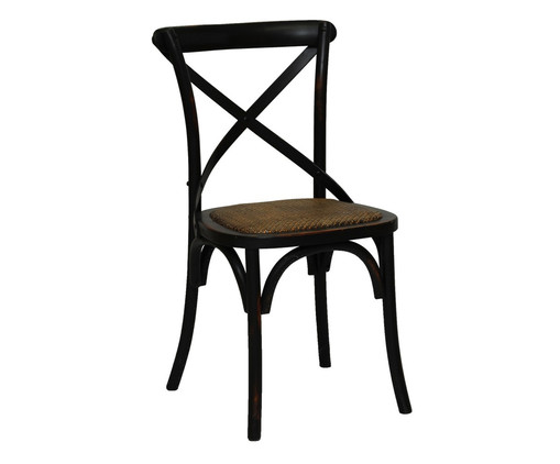 Cadeira de Madeira Cross - Preta, Preto, Marrom, Colorido | WestwingNow