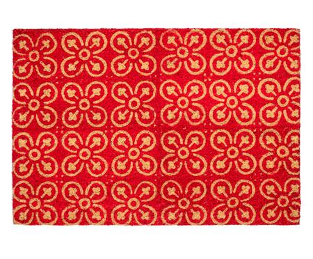 Capacho Indiano em Fibra de Coco Flores Vermelhas - Bege | WestwingNow