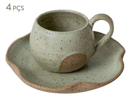 Jogo de Xícaras para Chá em Cerâmica Parker - Verde | WestwingNow