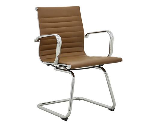 Cadeira de Escritório com Braços Glove Baixa - Caramelo, Marrom, Prata / Metálico | WestwingNow