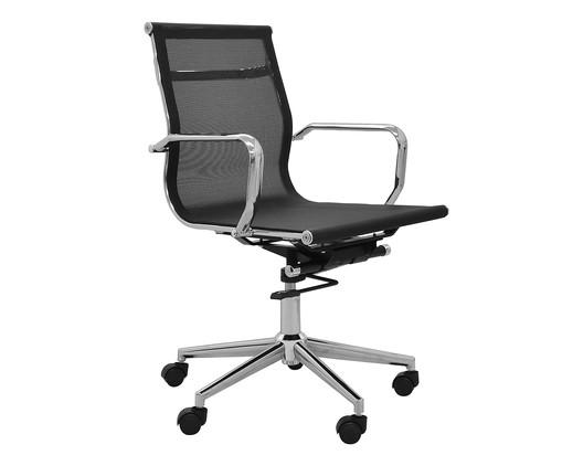 Cadeira de Escritório com Rodízios Smooth - Preta, Preto, Prata / Metálico | WestwingNow