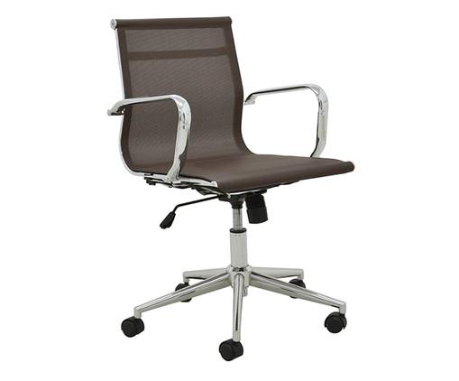 Cadeira de Escritório com Rodízios Smooth Baixa - Café, Marrom, Prata / Metálico | WestwingNow