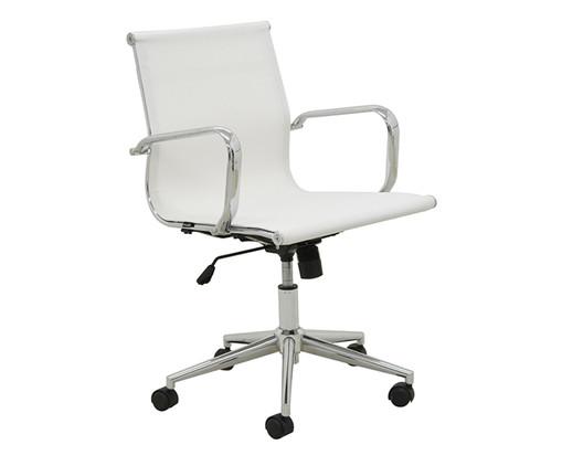 Cadeira Oficce com Rodízios Fox - Branca, Branco, Prata / Metálico   WestwingNow
