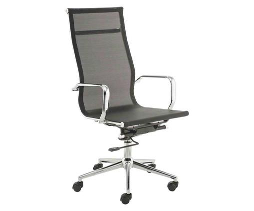 Cadeira de Escritório com Rodízios Smooth Alta - Preta, Preto, Prata / Metálico | WestwingNow