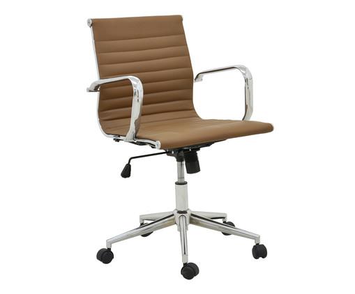Cadeira de Escritório com Rodízios Glove Baixa - Caramelo, Marrom, Prata / Metálico | WestwingNow
