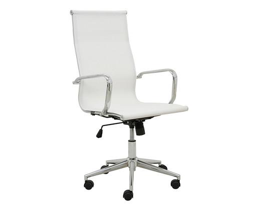 Cadeira de Escritório com Rodízios Smooth Alta - Branca, Branco, Prata / Metálico | WestwingNow