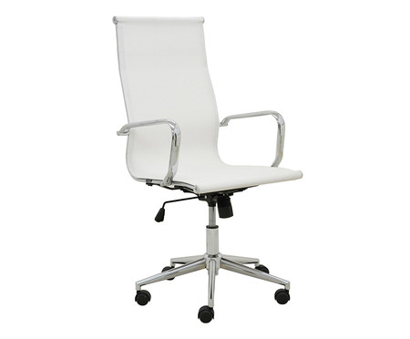 Cadeira de Escritório com Rodízios Smooth Alta - Branca | WestwingNow