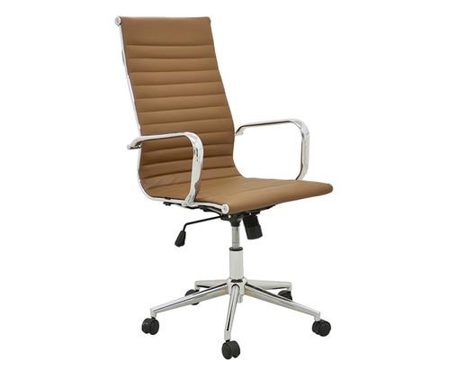 Cadeira de Escritório com Rodízios Glove Alta - Mel, Marrom, Prata / Metálico | WestwingNow