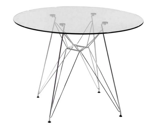 Mesa de Jantar de Vidro Redonda Eames Eiffel - Vidro, Prata ou Metálico, Colorido | WestwingNow