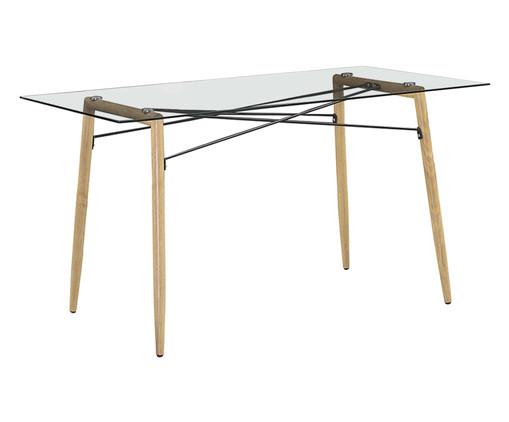 Mesa de Jantar Elis Retangular - Vidro e Madeira, Transparente, Natural | WestwingNow
