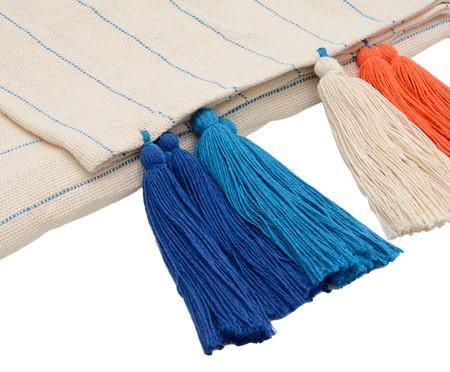 Manta para Sofá com Tassel Jeri - Azul e Laranja | WestwingNow