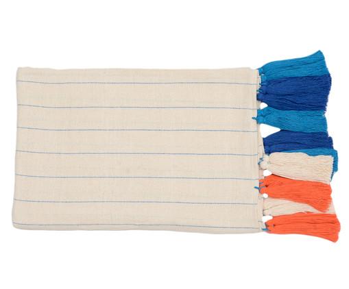 Manta para Sofá com Tassel Jeri - Azul e Laranja, Bege | WestwingNow