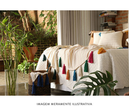 Manta para Sofá com Tassel - Bege e Verde Musgo | WestwingNow