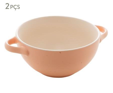 Jogo de Bowls com Alça em Cerâmica Giulietta - Salmão   WestwingNow