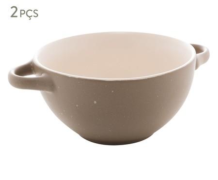 Jogo de Bowls com Alça em Cerâmica Giulietta - Cinza   WestwingNow